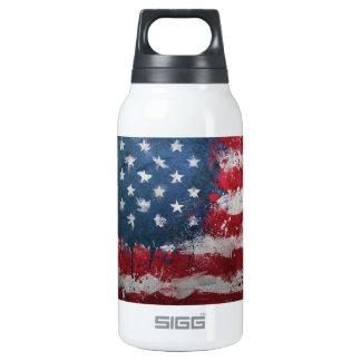 Botón sucio de la bandera americana botella isotérmica de agua