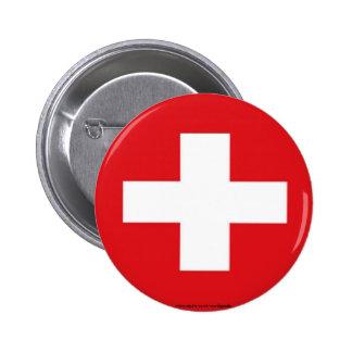 Botón suizo de la bandera pin redondo de 2 pulgadas