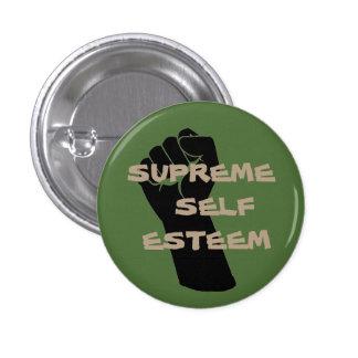 Botón supremo del amor propio del verde/del moreno pin redondo de 1 pulgada