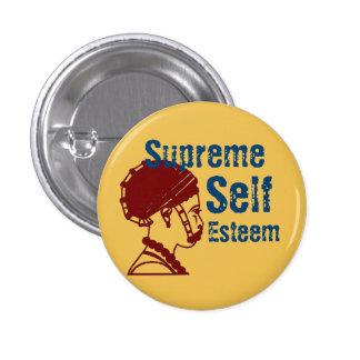 Botón supremo del uno mismo del Marrón-Oro Pin Redondo De 1 Pulgada