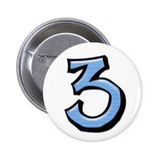 Botón tonto del azul del número 3 pin redondo de 2 pulgadas