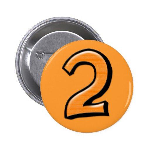 Botón tonto del naranja del número 2 pins