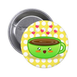 Botón tórrido caliente del café