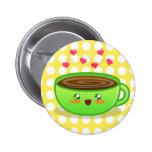Botón tórrido caliente del café pins