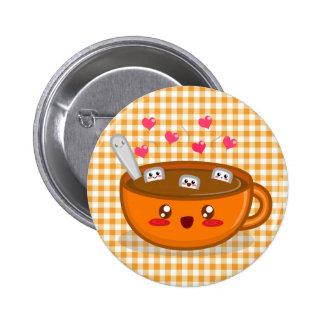 Botón tórrido del chocolate caliente pins