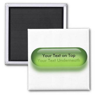 Botón translúcido en imán verde del botón