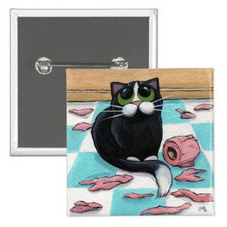 Botón travieso del gato pin cuadrado