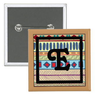 Botón tribal del E-Monograma Pin Cuadrado