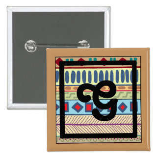 Botón tribal del G-Monograma Pin Cuadrado