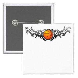 Botón tribal del gris de las llamas del baloncesto