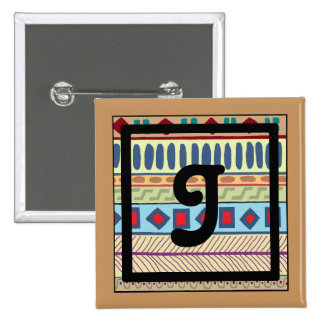 Botón tribal del J-Monograma Pin Cuadrado