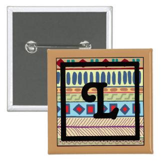 Botón tribal del L-Monograma Pin Cuadrado