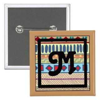 Botón tribal del M-Monograma Pin Cuadrado