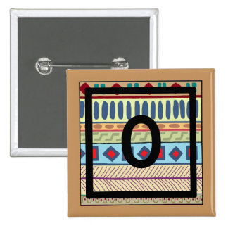 Botón tribal del O-Monograma Pin Cuadrado