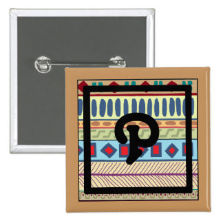 Botón tribal del P-Monograma Pin Cuadrado