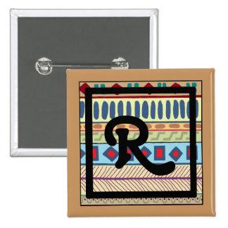 Botón tribal del R-Monograma Pin Cuadrado