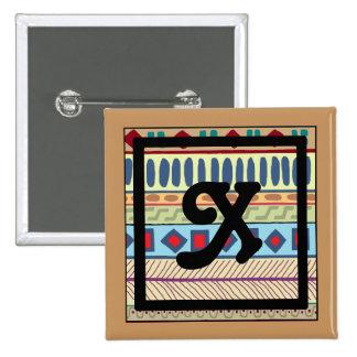 Botón tribal del X-Monograma Pin Cuadrado