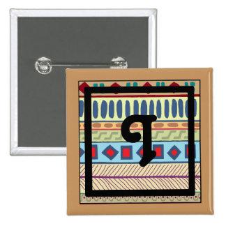 Botón tribal del Yo-Monograma Pin Cuadrado