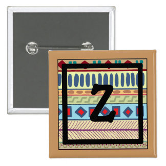 Botón tribal del Z-Monograma Pin Cuadrado