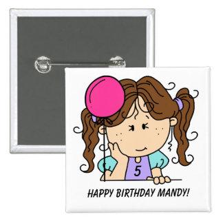 Botón trigueno de encargo del cumpleaños del chica pin cuadrado