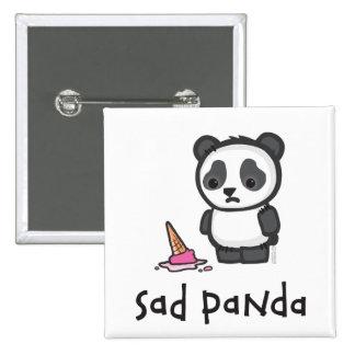 Botón triste de la panda pin cuadrado