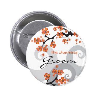 Botón tropical de la etiqueta del nombre del boda  pins