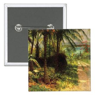 Botón tropical del cuadrado del paisaje pin