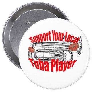 "Botón tubas de la ayuda"" del músico de la tuba de pin redondo de 4 pulgadas"