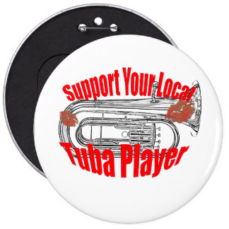 "Botón tubas de la ayuda"" del músico de la tuba de pin redondo de 6 pulgadas"