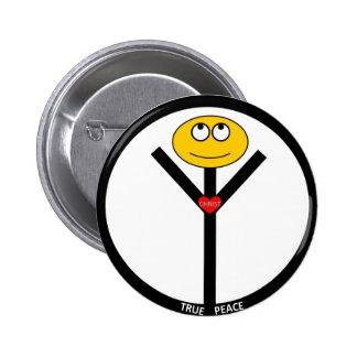 Botón verdadero del signo de la paz pin redondo de 2 pulgadas