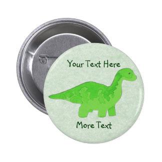 Botón verde de Dino Pin Redondo De 2 Pulgadas