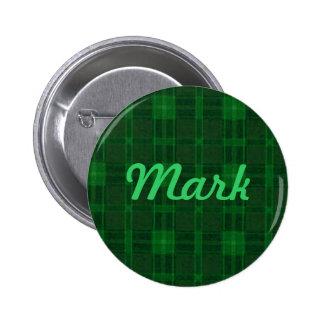 Botón verde de encargo de la tela escocesa pins