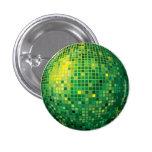 Botón verde de la bola de discoteca pins