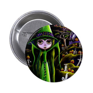 Botón verde de la bruja de Halloween Pin Redondo De 2 Pulgadas