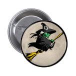 Botón verde de la bruja del vuelo pin