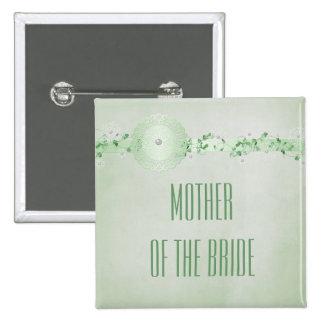 Botón verde de las perlas de los copos de nieve pin cuadrado