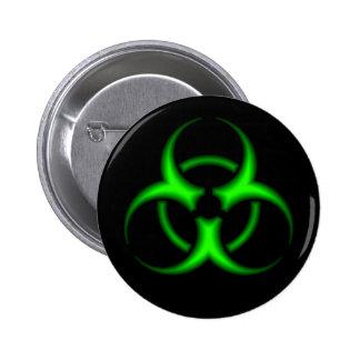 Botón verde de neón del símbolo del Biohazard Pin Redondo De 2 Pulgadas