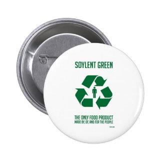 Botón verde de Soylent Pin Redondo De 2 Pulgadas