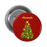 Botón verde del árbol de navidad pin
