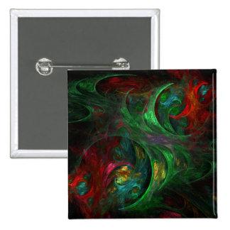 Botón verde del arte abstracto de la génesis (cuad pin cuadrado