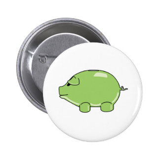 Botón verde del cerdo pin redondo de 2 pulgadas