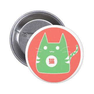 Botón verde del gato pin redondo de 2 pulgadas
