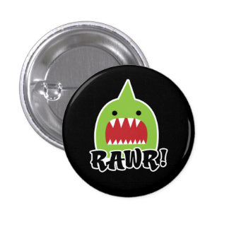 Botón verde del monstruo pin