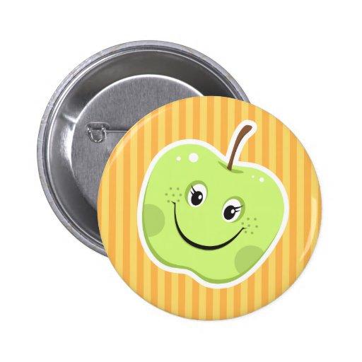 Botón verde del personaje de dibujos animados de l pins