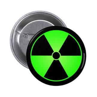 Botón verde del símbolo de la radiación pins