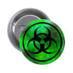 Botón verde del símbolo del Biohazard de la niebla Pin