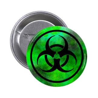 Botón verde del símbolo del Biohazard de la niebla