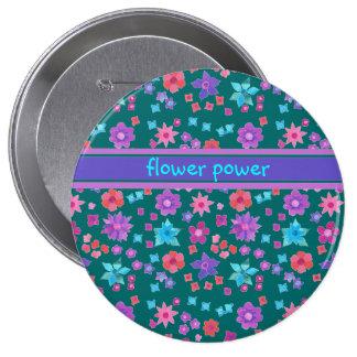 Botón verde oscuro del flower power del fondo pin redondo de 4 pulgadas
