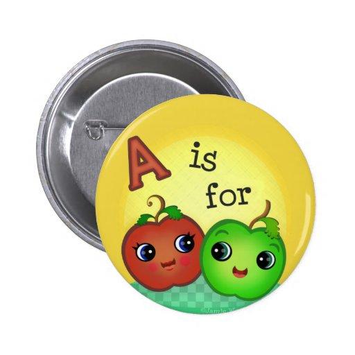 Botón verde y rojo de Kawaii de Apple del smiley Pins