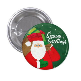Botón verde y rojo de Santa/insignia Pin Redondo De 1 Pulgada